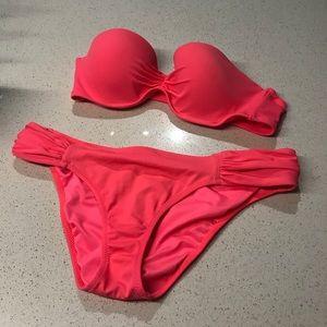 Victoria's Secret Push Up Bandeau Bikini Set 32B